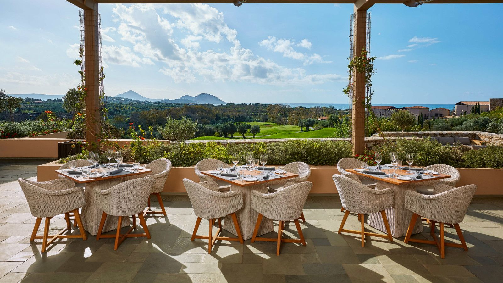The Romanos a Luxury Collection Resort Costa Navarino Flame Restaurant View over the Dunes Course